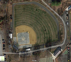 Jun 14, 2017 - Alexandria, Virginia, U.S. - An aerial image from Google Maps shows the Eugene Simpson Stadium park from an above view. The gunman shot from behind a fence between home plate and the third-base dugout. Rep. Scales was shot in the hip near second base. At least five people were wounded and taken to the hospital.  (Credit Image: © Google Maps via ZUMA Wire)