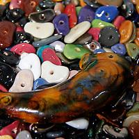 Africa, Kenya, Nairobi. Colorful beads at the Kazuri bead making factory in Karen district of Nairobi.
