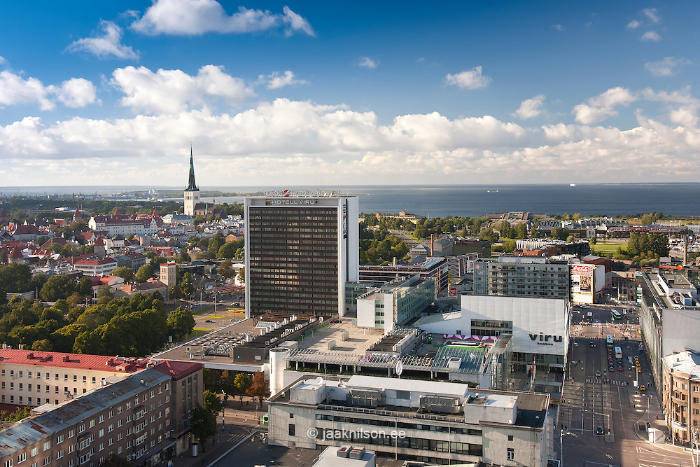 Sokos Viru Hotel and Tallinn Skyline From Radisson Hotel Roof, Estonia