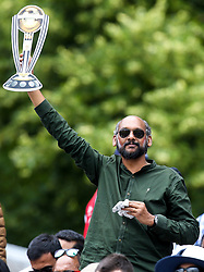 A fan holds up a homemade Cricket World Cup Trophy - Mandatory by-line: Robbie Stephenson/JMP - 14/07/2019 - CRICKET - Lords - London, England - England v New Zealand - ICC Cricket World Cup 2019 - Final