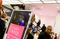 4 October, 2008.  A sale sign is here at the entrance of the Bloomingdale's department store on 59th street and Lexington ave. As the financial crisis spread last month, many retailers hit the panic button, offering more generous discounts than they did at the same time last year. But the promotions did little to convince cautious shoppers to open their wallets.<br /> <br /> ©2008 Gianni Cipriano for The Wall Street Journal<br /> cell. +1 646 465 2168 (USA)<br /> cell. +1 328 567 7923 (Italy)<br /> gianni@giannicipriano.com<br /> www.giannicipriano.com