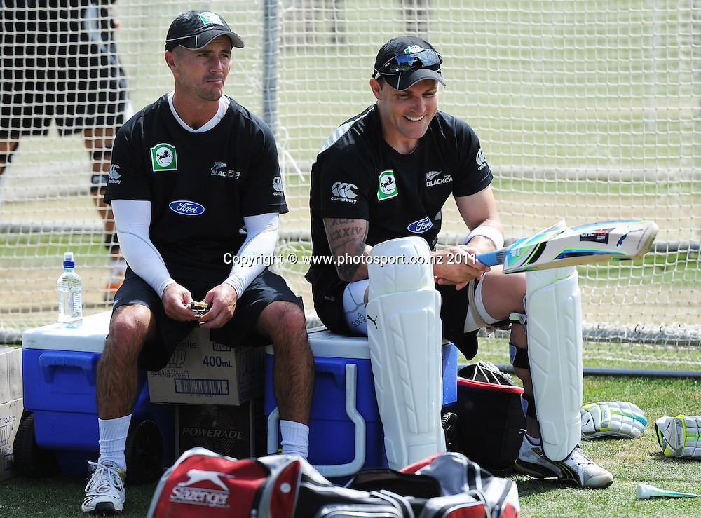 Kruger van Wyk and Brendon McCullum during a Black Caps training session at Nelson Park in Napier ahead of the first cricket test against Zimbabwe starting this week. Tuesday 24 January 2012. Napier, New Zealand. Photo: Andrew Cornaga/Photosport.co.nz