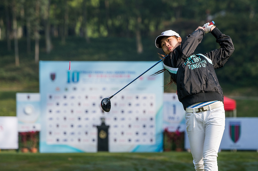 Jenjira Jinangkul of Thailand in action during day one of the 10th Faldo Series Asia Grand Final at Faldo course in Shenzhen, China. Photo by Xaume Olleros.