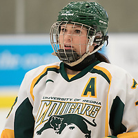 5th year forward Kylie Gavelin (13) of the Regina Cougars in action during the Women's Hockey home game on January 7 at Co-operators arena. Credit: Arthur Ward/Arthur Images