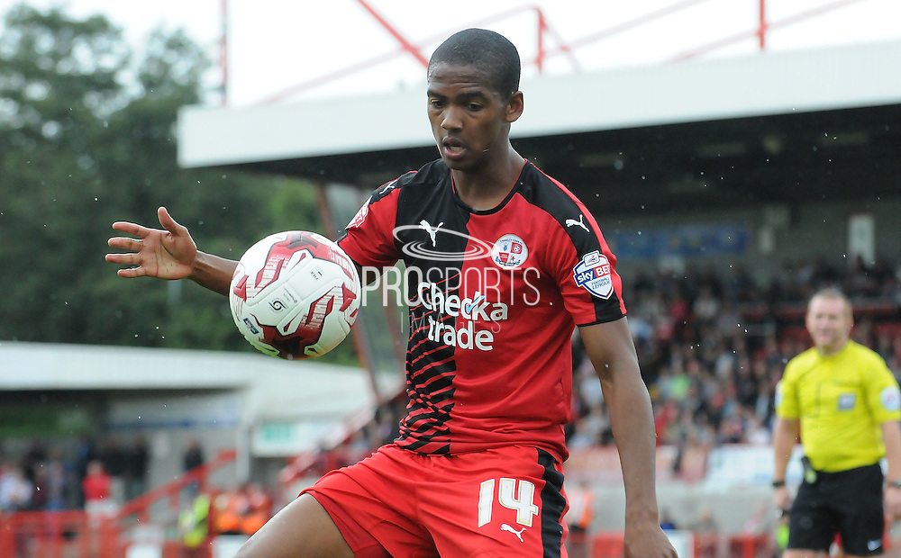 Lewis Young taking down the loose ball during the Sky Bet League 2 match between Crawley Town and Wycombe Wanderers at the Checkatrade.com Stadium, Crawley, England on 29 August 2015. Photo by Michael Hulf.