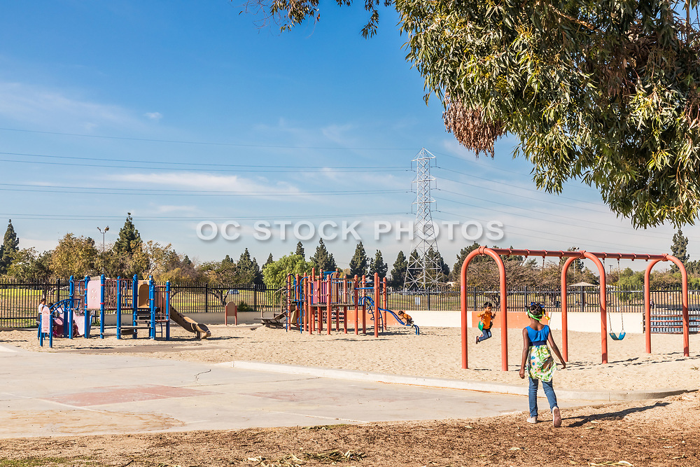 Kids on Playground Equipment at Earvin Magic Johnson Recreation Area