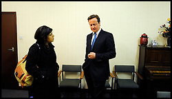 The Prime Minister David Cameron in the green room with Sayeeda Warsi  before his Local election launch in Afreton, UK, April 16, 2012. Photo By Andrew Parsons / i-Images.