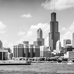 Chicago skyline panorama photo in black and white. Panorama photo ratio is 1:3. Picture includes Shedd Aquarium, Willis Tower (Sears Tower) and other buidlings along the Chicago lakefront.