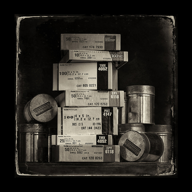 Charles Blackburn image of 4x5 film boxes in studio.