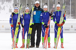 Tadeja Brankovic Likozar, Andreja Mali, Tomas Kos, Dijana Grudicek Ravnikar and Teja Gregorin of Slovenian women biathlon team before new season 2009/2010,  on November 16, 2009, in Pokljuka, Slovenia.   (Photo by Vid Ponikvar / Sportida)