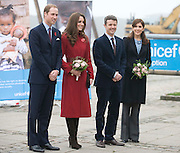 Picture by Mark Larner/Barcroft Media. Picture shows, ltor: Prince William, Duke of Cambridge, Katherine, Duchess of Cambridge, Crown Prince Frederick and Crown Princess Mary of Denmark outside the Copenhagen UNICEF Distribution Depot 02/11/2011...The Duke and Duchess of Cambridge are today visiting children's charity Unicef's emergency supply centre in Copenhagen with with the Crown Prince Frederik and Crown Princess Mary of Denmark.