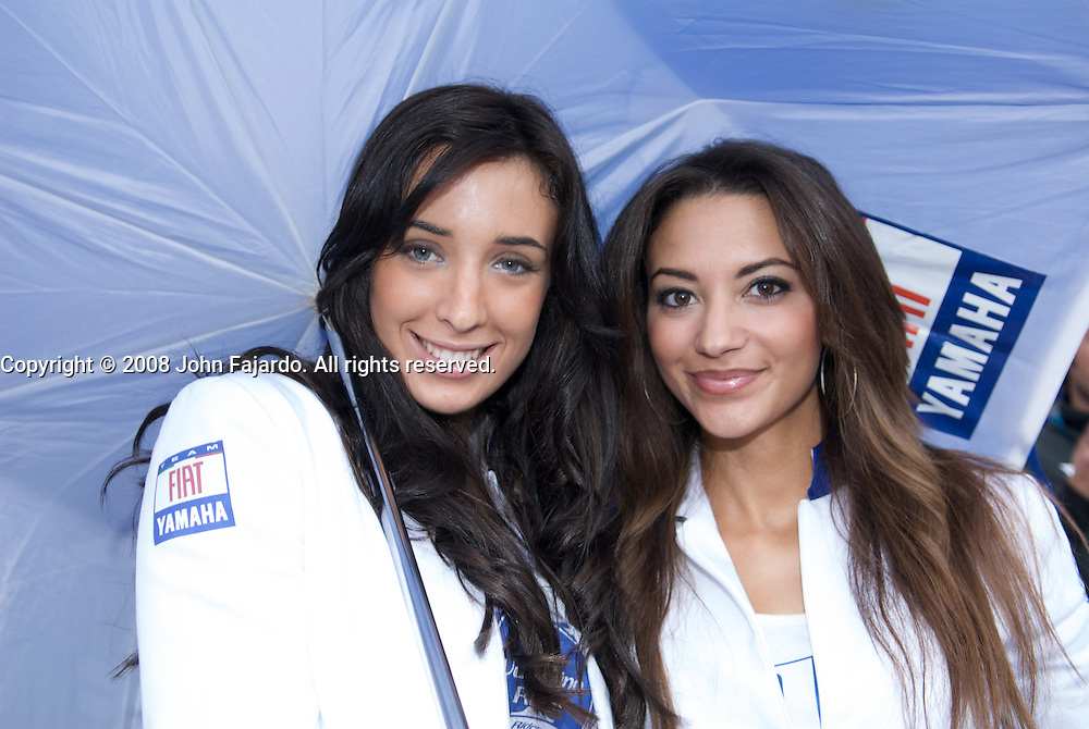 Fiat Yamaha Team grid girls pose in the paddock area at the Valencia Circuit, Cheste Spain Saturday October 25, 2008.