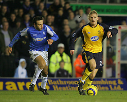BIRMINGHAM, ENGLAND - MONDAY, JANUARY 2nd, 2006: Wigan Athletic's Gary Teale and Birmingham City's Stan Lazaridis during the Premiership match at St Andrews. (Pic by Chris Brunskill/Propaganda)