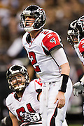 NEW ORLEANS, LA - DECEMBER 26:   Matt Ryan #2 of the Atlanta Falcons yells out a play at the line of scrimmage during a game against the New Orleans Saints at Mercedes-Benz Superdome on December 26, 2011 in New Orleans, Louisiana.  The Saints defeated the Falcons 45-16.  (Photo by Wesley Hitt/Getty Images) *** Local Caption *** Matt Ryan