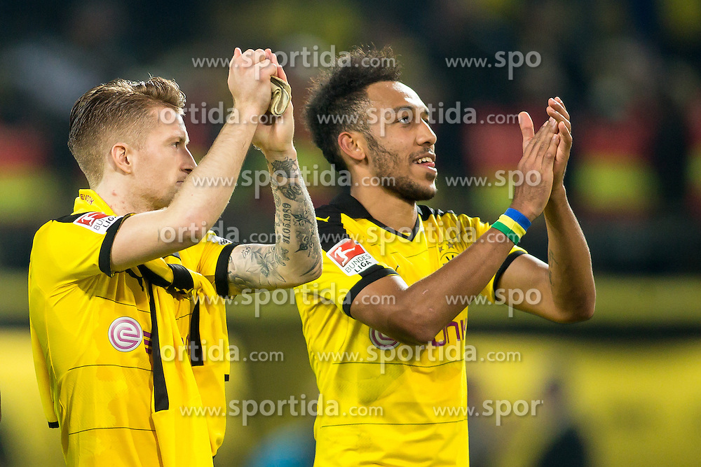 02.04.2016, Signal Iduna Park, Dortmund, GER, 1. FBL, Borussia Dortmund vs SV Werder Bremen, 28. Runde, im Bild Marco Reus (Borussia Dortmund #11) und Pierre-Emerick Aubameyang (Borussia Dortmund #17) // during the German Bundesliga 28th round match between Borussia Dortmund and SV Werder Bremen at the Signal Iduna Park in Dortmund, Germany on 2016/04/02. EXPA Pictures &copy; 2016, PhotoCredit: EXPA/ Eibner-Pressefoto/ Sch&uuml;ler<br /> <br /> *****ATTENTION - OUT of GER*****