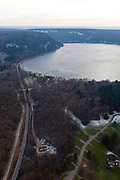 Aerial photograph of Devil's Lake State Park, near Baraboo, Sauk County, Wisconsin, USA.
