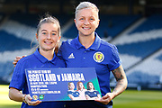 Scotland & ACF Fiorentina Forward Lana Clelland and Scotland & Liverpool Midfielder Christie Murray during the pre-match press conference ahead of the Scotland Women's National Team final game on home soil before the squad head off to the FIFA Women's World Cup in France.<br /> <br /> Hampden Park, Glasgow, United Kingdom on 24 May 2019.