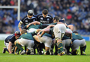 The Scotland front row of (L to R) Euan Murray, Ross Ford and Allan Jacobsen look to pack down against the Springbok forwards..Scotland v South Africa, Murrayfield, Edinburgh, Scotland, Satday 20th November 2010.