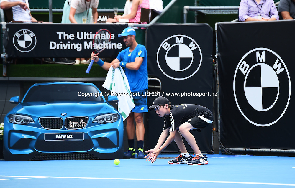 ASB Bank ball kid during the ASB Classic ATP Mens Tournament Day 1. ASB Tennis Centre, Auckland, New Zealand. Monday 9 January 2017. ©Copyright Photo: Chris Symes / www.photosport.nz