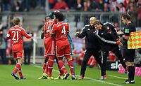 Fotball<br /> Tyskland<br /> 09.11.2013<br /> Foto: Witters/Digitalsport<br /> NORWAY ONLY<br /> <br /> 1:0 Jubel, v.l. Philipp Lahm, Torschuetze Jerome Boateng, David Alaba, Dante, Arjen Robben, Thomas Mueller (Bayern)<br /> Fussball Bundesliga, FC Bayern München - FC Augsburg