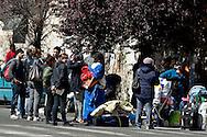 Roma 16 Aprile 2014<br /> Sgomberato palazzo in  via Baldassarre Castiglione alla Montagnola occupato nei giorni scorsi  dai movimenti per il diritto all'abitare da circa  200 persone, la polizia a caricato i manifestanti che protestano per lo sgombero, otto persone sono state ferite.Le famiglie sgomberate rimango per strada<br /> Rome April 16, 2014 <br /> Vacated the building in Via Baldassarre Castiglione,Montagnola district, busy in recent days by the movements for housing rights, by about 200 people, the police charged the demonstrators protesting the eviction, eight people were injured.The evicted families remain on the street