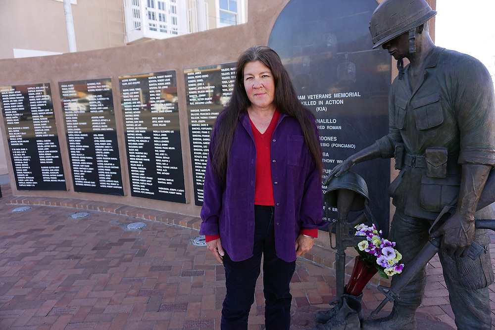 apl030217g/ASECTION/pierre-louis/030217/JOURNAL<br /> Becky Johnson,, stands in front of the Bernalillo Vietnam Memorial ,.Photographed  on Thursday March 2, 2017. .Adolphe Pierre-Louis/JOURNAL