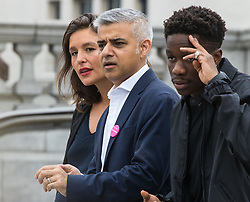 Trafalgar Square, London, July 22nd 2016. International Busking Day is launched in London by Mayor Sadiq Khan together with Jessie Ware, Tinchy Strider, Irish band Keywest and The Vamps. PICTURED: Mayor of London Sadiq Khan poses with Jessie Ware and Tinchy Strider.<br /> <br /> &copy;Paul Davey<br /> FOR LICENCING CONTACT: Paul Davey +44 (0) 7966 016 296 or 020 8969 6875 paul@pauldaveycreative.co.uk