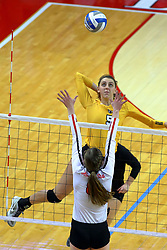 23 November 2017:  Brittany Anderson during a college women's volleyball match between the Valparaiso Crusaders and the Illinois State Redbirds in the Missouri Valley Conference Tournament at Redbird Arena in Normal IL (Photo by Alan Look)