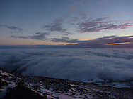 Undercast at sunrise as seen from Mount Washington.