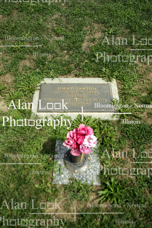 31 August 2017:   Veterans graves in Park Hill Cemetery in eastern McLean County.<br /> <br /> Jimmy Lawson  Sergeant US Marine Corps  Vietnam  Nov 20 1947  Nov 30 1998  Purple Heart