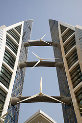 Detail of wind turbines installed on World Trade Center in Manama Kingdom of Bahrain