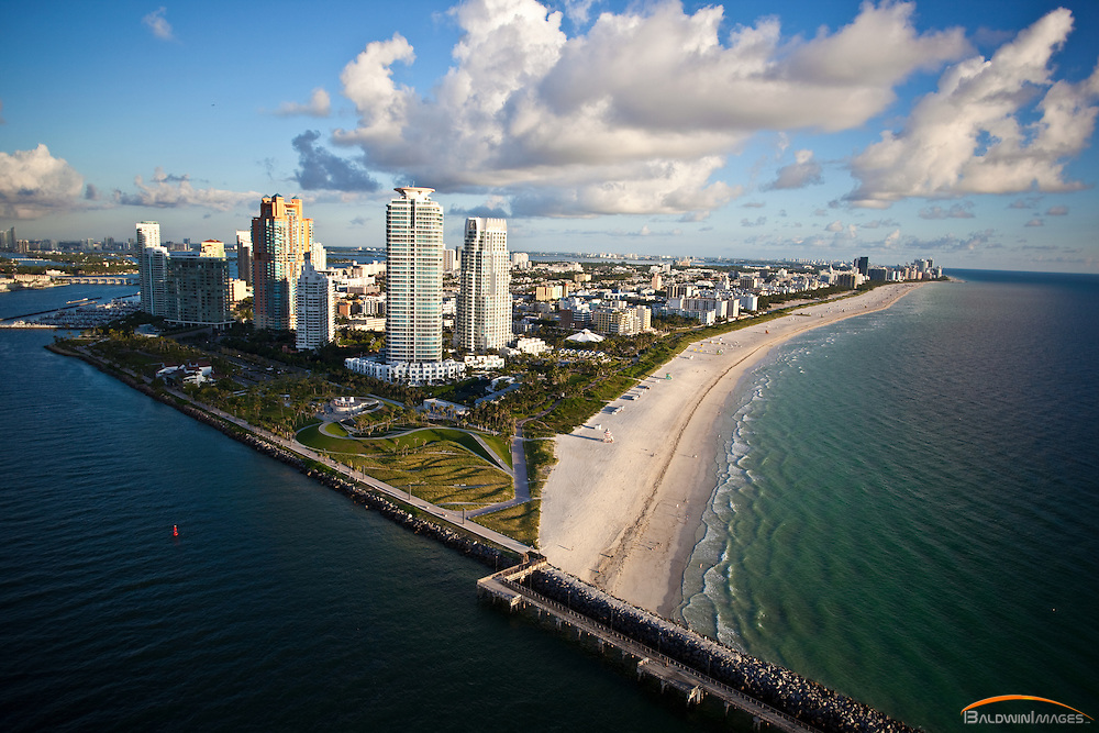 Aerial view of South Beach viewed to the north from Government Cut