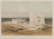 Temple at Edfou, Ancient Apollinopolis, Upper Egypt 1847 from Egypt and Nubia, Volume I: Temple at Edfou, Ancient Apollinopolis, Upper Egypt, 1847. Louis Haghe (British, 1806-1885), F.G. Moon, 20 Threadneedle Street, London, after David Roberts (British, 1796-1864). Color lithograph; sheet: 43 x 60.3 cm (16 15/16 x 23 3/4 in.); image: 33.6 x 50.1 cm (13 1/4 x 19 3/4 in.).