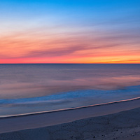 Pre-dawn clouds and ocean colors, overlooking the Marconi Beach. Part of the Cape Cod National Seashore, Massachusetts