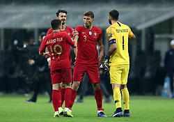 November 17, 2018 - Milan, Italy - Italy v Portugal - UEFA Nations League League A..Mario Rui celebrates with Jose Fonte, Ruben Dias and Rui Patricio of Portugal celebrate the qualification to the final four at San Siro Stadium in Milan, Italy on November 17, 2018. (Credit Image: © Matteo Ciambelli/NurPhoto via ZUMA Press)