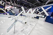 The Univision stand with a range odrones, incl small ones to be carried into the field - The DSEI (Defence and Security Equipment International) exhibition at the Excel Centre, Docklands, London UK 15 Sept 2015