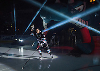 KELOWNA, CANADA - SEPTEMBER 25: Rodney Southam #17 of Kelowna Rockets enters the ice during the season home opener against the Kamloops Blazers on September 25, 2015 at Prospera Place in Kelowna, British Columbia, Canada.  (Photo by Marissa Baecker/Shoot the Breeze)  *** Local Caption *** Rodney Southam;