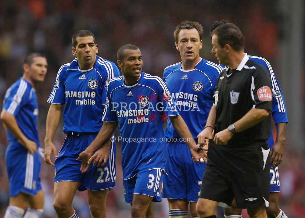 Liverpool, England - Sunday, August 19, 2007: Chelsea's Tal Ben-Haim thinks he is about to receive his second yellow card from referee Rob Styles during the Premiership match at Anfield. (Photo by David Rawcliffe/Propaganda)