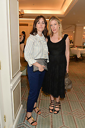 Left to right, TANIA FARES and FIONA LEAHY at a breakfast hosted by Halcyon Days at Fortnum & Mason, 181 Piccadilly, London on 8th July 2014.
