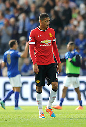 Manchester United's Chris Smalling cuts a dejected figure at the final whistle - Photo mandatory by-line: Dougie Allward/JMP - Mobile: 07966 386802 - 21/09/2014 - SPORT - FOOTBALL - Leicester - King Power Stadium - Leicester City v Manchester United - Barclays Premier League