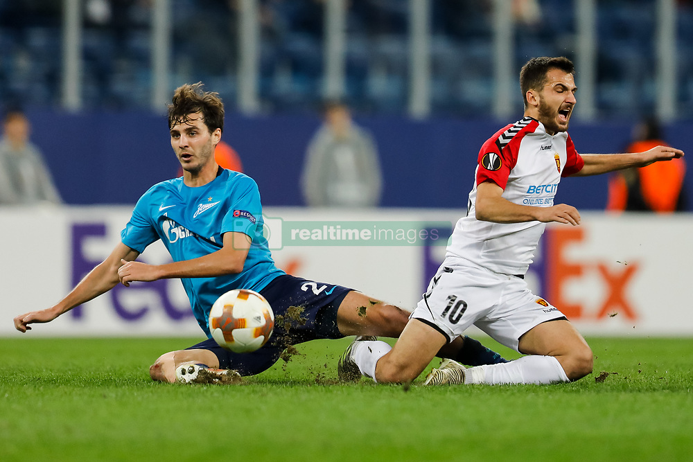 November 23, 2017 - Saint Petersburg, Russia - Aleksandr Erokhin (L) of FC Zenit Saint Petersburg and Boban Nikolov of FK Vardar in action during the UEFA Europa League Group L match between FC Zenit St. Petersburg and FK Vardar at Saint Petersburg Stadium on November 23, 2017 in Saint Petersburg, Russia. (Credit Image: © Mike Kireev/NurPhoto via ZUMA Press)