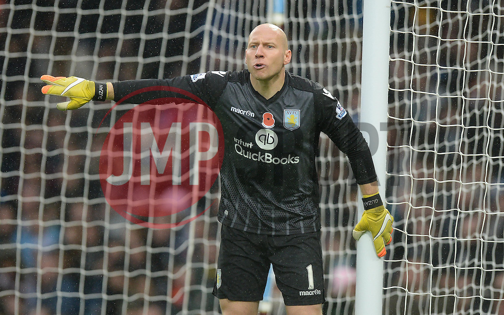 Brad Guzan of Aston Villa - Mandatory byline: Alex James/JMP - 07966 386802 - 08/11/2015 - FOOTBALL - Villa Park - Birmingham, England - Aston Villa v Manchester City - Barclays Premier League