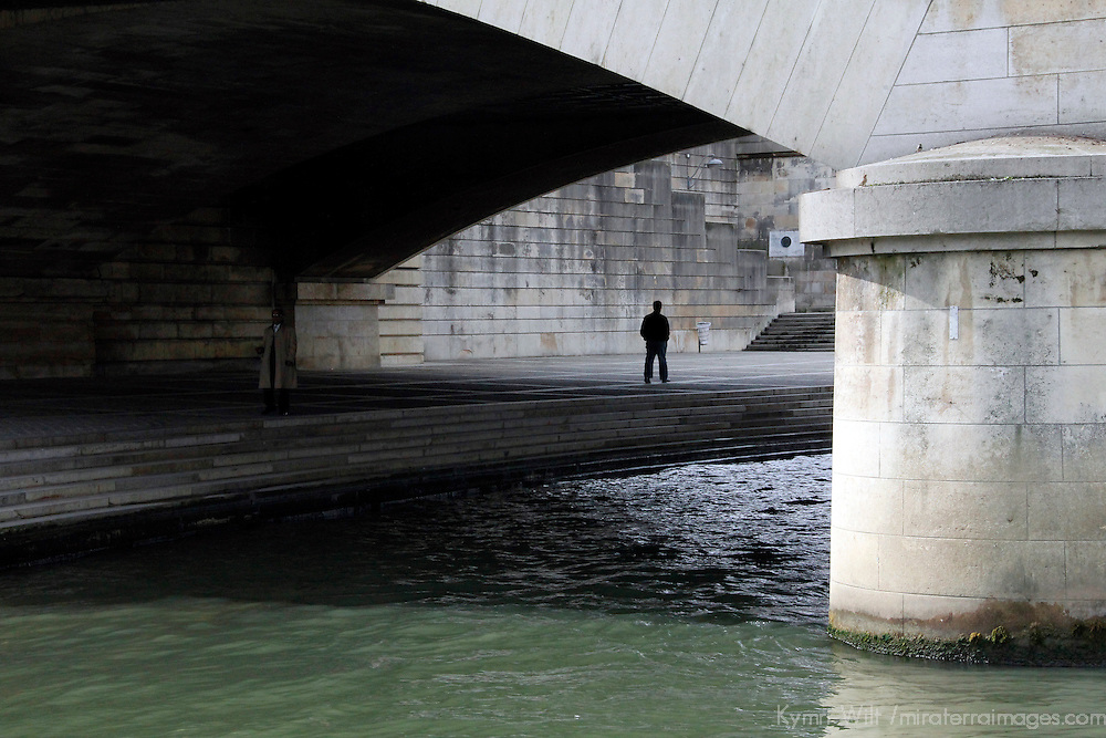 Europe, France, Paris. Under a bridge along the Seine Embankment.
