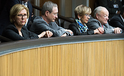 12.10.2016, Parlament, Wien, AUT, Parlament, Nationalratssitzung, Sitzung des Nationalrates mit Budgetrede des Finanzministers, im Bild v.l.n.r. Rechnungshofpräsidentin Margit Kraker, Wirtschaftskammer Österreich Präsident Christoph Leitl (ÖVP), Präsidentin des Österreichischen Pensionistenverbandes Ingrid Korosec (ÖVP) und ehemaliger Präsident des Österreichischen Pensionistenverbandes und ehemaliger Nationalratspräsident Andreas Khol // f.l.t.r. President of the Austrian court of audit Margit Kraker, President of the Austrian Economic Chamber Christoph Leitl (OeVP), President Association of the Austrian Pensioners Ingrid Korosec (OeVP) and former Candidate for Presidential Elections Andreas Khol during meeting of the National Council of austria according to government budget 2017 at austrian parliament in Vienna, Austria on 2016/10/12, EXPA Pictures © 2016, PhotoCredit: EXPA/ Michael Gruber