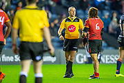 Referee John Lacey speaks with Cyril-John Velleman (#6) of Isuzu Southern Kings during the Guinness Pro 14 2018_19 rugby match between Edinburgh Rugby and Isuzu Southern Kings at the BT Murrayfield Stadium, Edinburgh, Scotland on 5 January 2019.