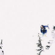 Nick Marvic skis off into the trees during a blizzard at Mount Baker Ski Area.