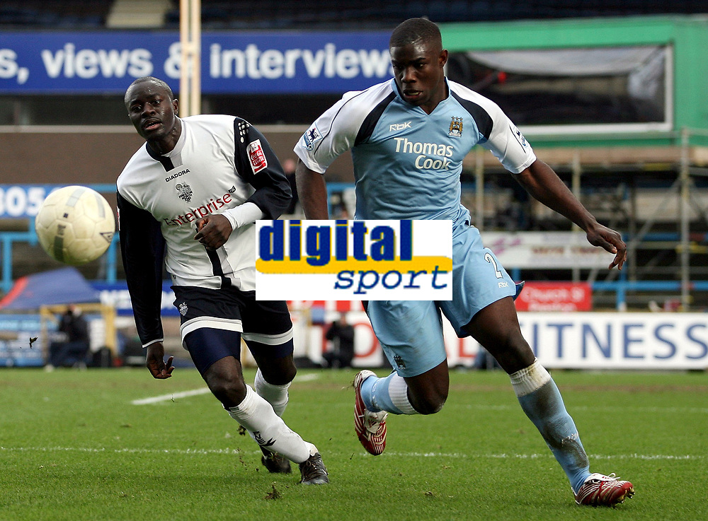 Photo: Paul Thomas.<br /> Preston North End v Manchester City. The FA Cup. 18/02/2007.<br /> <br /> Preston's Patrick Agyemang (L) can't get by Micah Richards.
