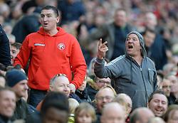 Walsall fans cut frustrated figures. - Photo mandatory by-line: Alex James/JMP - Mobile: 07966 386802 - 22/03/2015 - SPORT - Football - London - Wembley Stadium - Bristol City v Walsall - Johnstone Paint Trophy Final