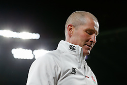 England Head Coach Stuart Lancaster looks dejected after England win the match but come up just 6 points short of winning the Six Nations Championship - Photo mandatory by-line: Rogan Thomson/JMP - 07966 386802 - 21/03/2015 - SPORT - RUGBY UNION - London, England - Twickenham Stadium - England v France - 2015 RBS Six Nations Championship.