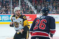 REGINA, SK - MAY 25: Justin Lemcke #5 of Hamilton Bulldogs gets in the face of Bryce Platt #26 of Regina Pats during second period at the Brandt Centre on May 25, 2018 in Regina, Canada. (Photo by Marissa Baecker/CHL Images)